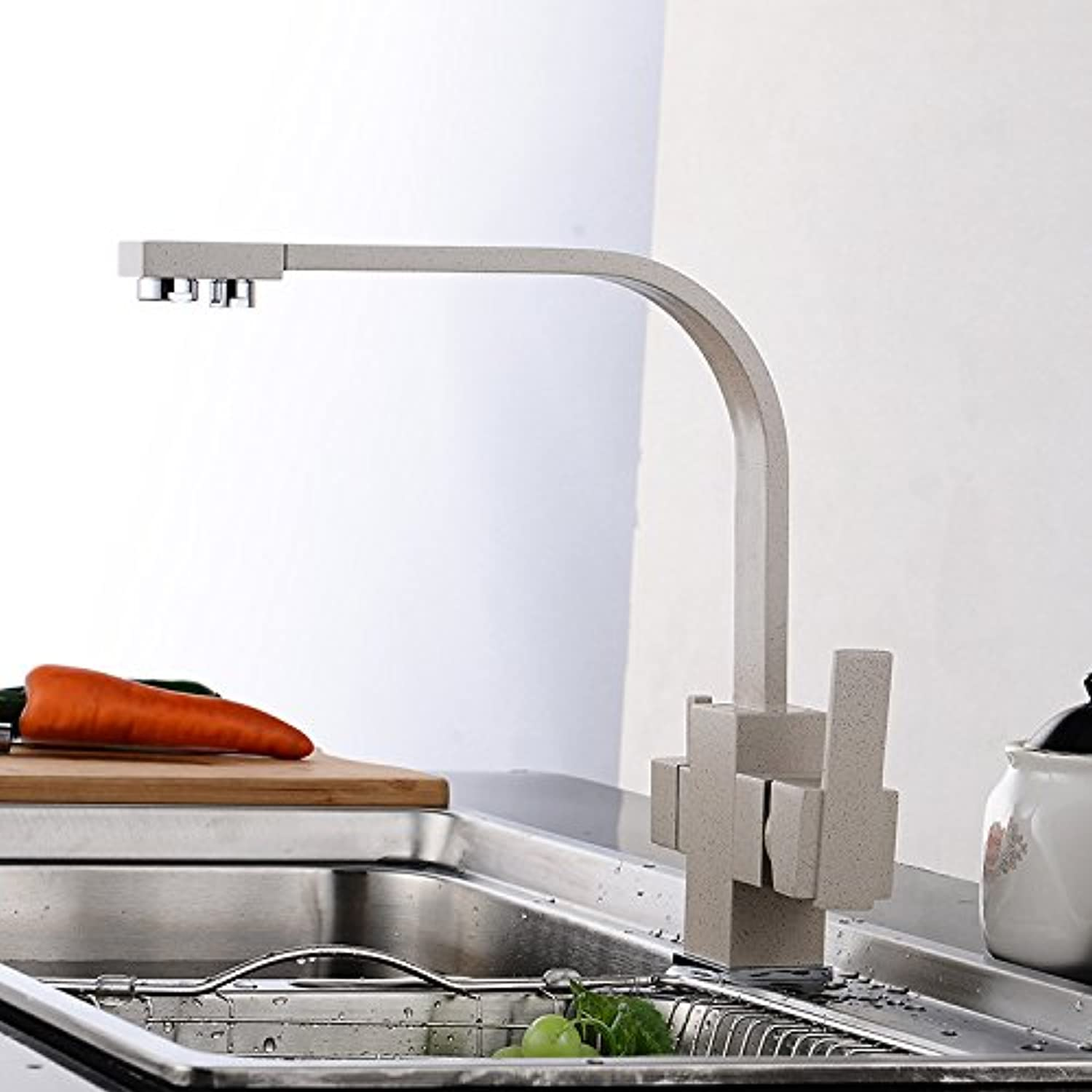 Commercial Single Lever Pull Down Kitchen Sink Faucet BrassFaucet Wrench Manufacturers Simple Dish Three with Pure Water Kitchen Faucet Scrub Wrench,8009 Sponge Packaging with Water Inlet Pipe