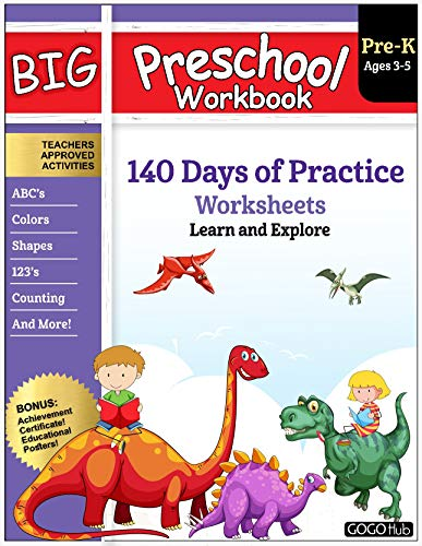 Big Preschool Workbook: Ages 2-5, 140+ Worksheets of PreK Learning Activities, Fun Homeschool Curriculum, Help Pre K Kids Math, Counting, Alphabet, Colors, ... & Shape, 2-4 Dinosaur Kindergarten Prep