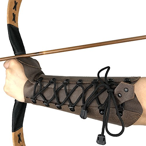 longbowmaker Archery Arm Guard Adjustable Cow Leather Antique Bracer 12.2 Inches Wristband for Left...