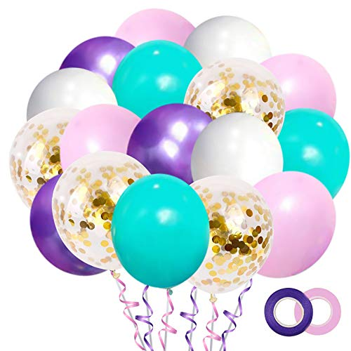 Mermaid Blue Pink Balloons 50Pack, 12 Inch Gold Confetti Party Balloons Metallic Purple Assorted balloons with 2 Rolls Ribbon for Unicorn Mermaid Birthday Parties