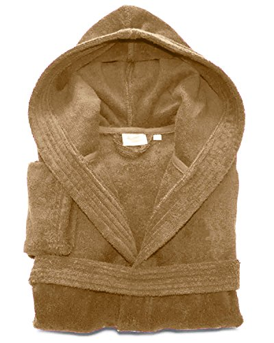 Mens Ladies Unisex Egyptian Cotton Terry Towelling Hooded Bathrobe Dressing Gown (XX-Large, Mocha)