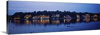 Boathouse Row lit up at Dusk, Philadelphia, Pennsylvania Canvas Wall Art Print, 60