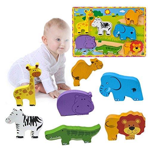 OFKPO Kinder 3D Tier Holzpuzzle Spiel,Lernspielzeug Geschenk für Baby Kinder Jungen Mädchen