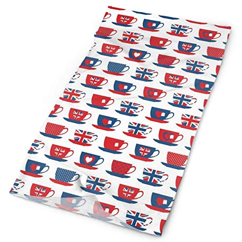 Magic Headwear Outdoor Scarf Headbands Bandana,Great Britain Themed Teacup Forms Patterned Union Jack Hearts Flags,Mask Neck Gaiter Head Wrap Mask Sweatband
