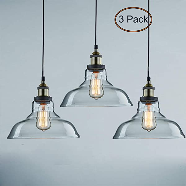 CLAXY Ecopower 工业挂件照明玻璃厨房海岛挂灯 3 个装