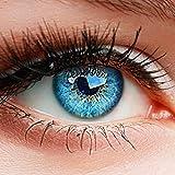 """ELFENWALD farbige Kontaktlinsen ohne Stärke, Produktreihe """"INTENSE"""", ein paar weiche Farblinsen OHNE Aufbewahrunsbehälter, natürlicher Look AZUR BLAU"""