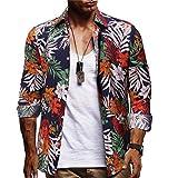 Camisa Hawaiana Casual para Hombre Manga Corta Básico Polos Shirt con Botones Hombre Camiseta Fruta Floral Estampado Playa Formales Tops Verano S-XXL riou
