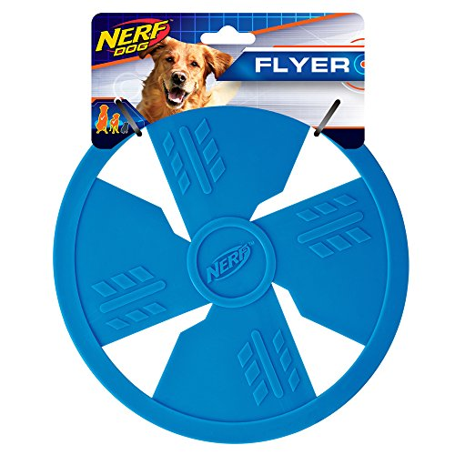Nerf Dog Classic Flyer Dog Toy, Frisbee, Lightweight, Durable and Water Resistant, Great for Beach and Pool, 6.5 inch diameter, for Medium/Large Breeds, Single Unit, Blue