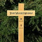 LASERfein Grabkreuz Holzkreuz Unfallkreuz Straßenkreuz mit Gravur Beschriftung 50x20cm (Gravur Name + Daten)