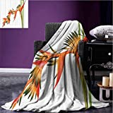 Floral Camp Chair Blanket Exotic Tropical Flowers on Branch Colorful Nature Jungle Garden Theme Image Print Printing Blanket Green Orange