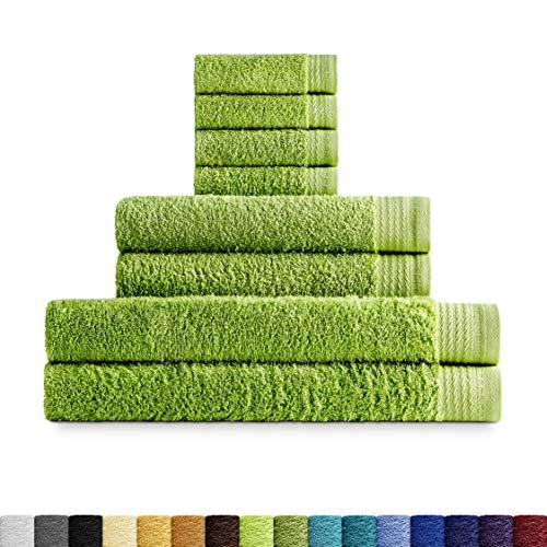 Eiffel textiel handdoekenset, badstof, 600 g, 100% Egyptisch katoen, bladen, make-uptafel voor wastafel en douche, 8 stuks