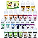 24 Farben Lebensmittelfarbe - Flüssige Lebensmittel Farben Set für Kuchen Backen, Macaron, Fondant, Kekse - Hochkonzentrierte Food Coloring für Kuchendekoration, DIY Slime - 6ml jeder