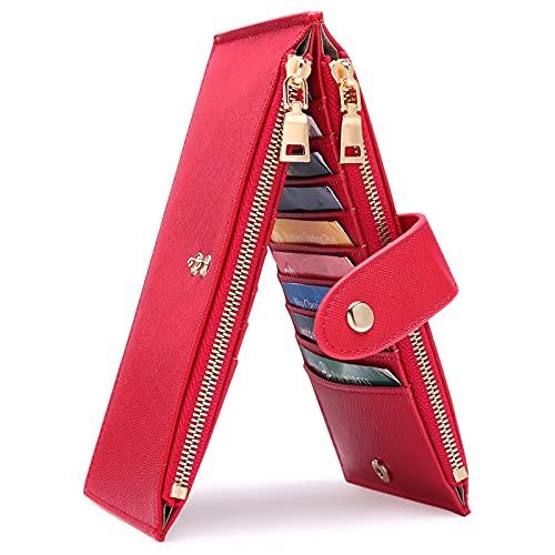 GOIACII Portefeuille Femme en Cuir Blocage RFID Porte Cartes de Crédit avec Longue Poche Zippée Sac À Main pour Téléphone Portable,Porte-Cartes pour 19 Cartes