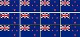 Mini Aufkleber Set - Pack glatt - 50x31mm - Sticker - Neuseeland - Flagge - Banner - Standarte fürs Auto, Büro, zu Hause & die Schule - 12 Stück