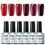 Esmalte de Uñas Semipermanente Uñas de Gel UV LED Kit de Manicura Serie de Color Rojo Vino 6pcs Manicura y Pedicura de Fairyglo-C010