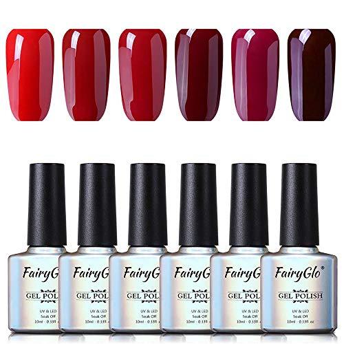 Smalto per Unghie Smalto Semipermanente Smalti in Gel per Colori 6pcs UV LED Gel Polish Nail Art 10ml di Fairyglo- Vino Rosso C010