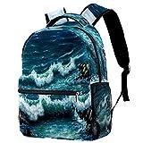 LynnsGraceland Mochila para adolescentes niñas niños mochila ligera mochila de viaje mochila Pintura al óleo original que muestra el barco en el océano Impresión de sacos