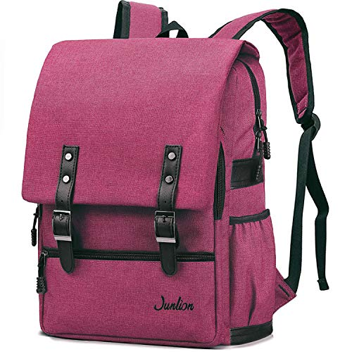 Junlion Einfarbig Laptop Rucksack für Studenten Lässiger Rucksack Canvas Reisetasche für Adrett Frau und Mann Weinrot