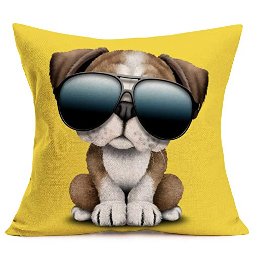 Aremazing Lovely Animal Dog Baby Wearing Sunglasses Cotton Linen Home Decor Pillowcase Cartoon Throw Pillow Case Decorative Cushion Cover 18 x 18 Inches (Dog Baby Wearing Sunglasses)
