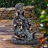 Exhart Children's See No Evil Statue | Patina Finish Garden Statuary | Faux Bronze Statue | Garden Art Resin Statue | Hear, See, Speak No Evil Outdoor Decorations | (18.5 in)