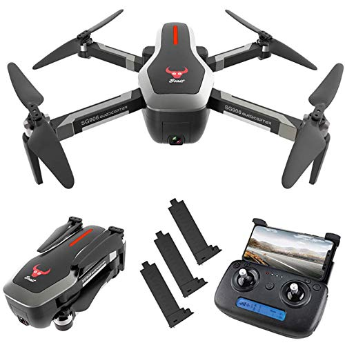 KLJJQAQ GPS RC Drone with 4K HD Front Camera and 720P Down-Looking Camera, 5G WiFi FPV Foldable Brushless Drone, Optical Flow Positioning Altitude Hold RC Quadcopter with 3 Battery,Black