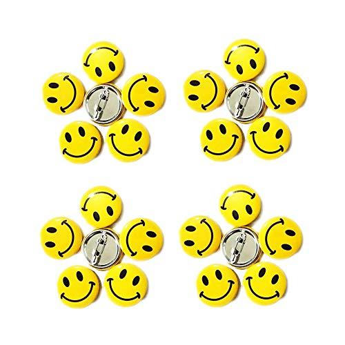 LGEGE 192PCS Mini Metal Smile Face Button Pins