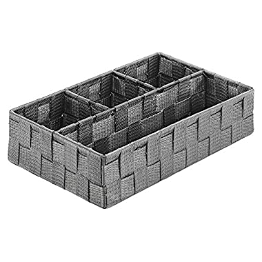Whitmor Woven Strap 4 Section Tray-Savvy Gray