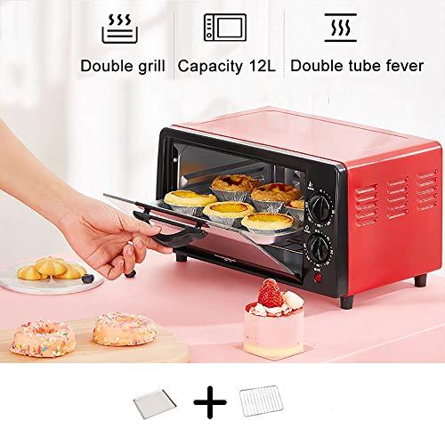 Fruitdroger In De Oven, 60 Minuten Timer 40-230 ° Temperatuuraanpassing Antislipknop, 600W12L Dubbellaags, Explosieveilige Oliebestendige Gehard Glaslaag, Snack Food Manufacturers,Red
