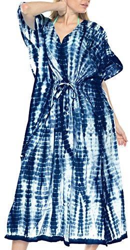 LA LEELA Mujeres Caftán Algodón túnica Tie Dye Kimono Libre tamaño Largo Maxi Vestido de Fiesta para Loungewear Vacaciones Ropa de Dormir Playa Todos los días Cubrir Vestidos Azul Marino_N767