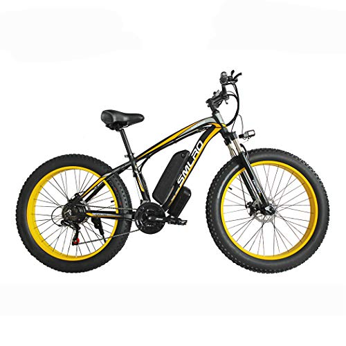 Hyuhome Electric Bikes for Adults Women Men, 4.0' Fat Tires 26 Inch 21 Speed Ladies Mountain Bicycle, 48V 13AH/15AH 350W/500W/1000W MTB E-Bike with IP54 Waterproof,black yellow,1000W15AH