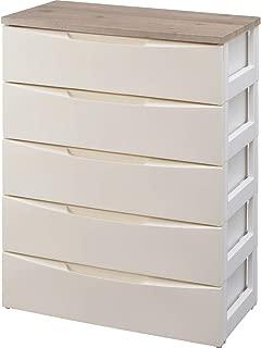 アイリスオーヤマ デザイン チェスト 5段 木天板 幅約73×奥行約42×高さ約100㎝ アイボリー DW-725