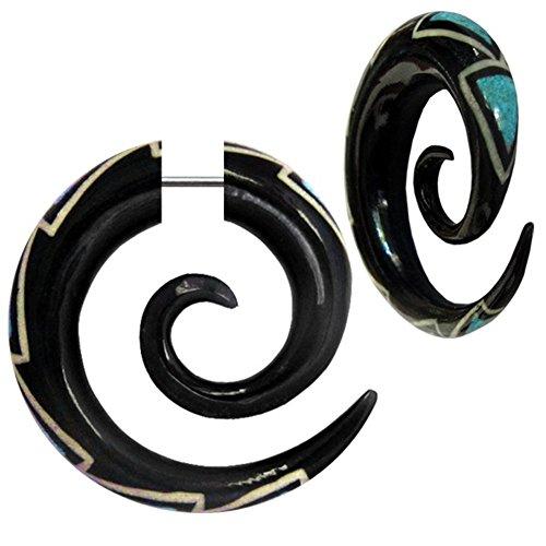 CHIC de Net Fake Piercing de Buffalo Cuerno espiral Ágata de Negro con turquesa zigzag de Expander Pendientes de de pendientes de pendientes