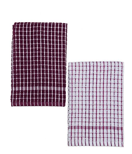Kuk's Cuisine Kitchen Towels - Ultra Absorbent - 100% Cotton - Size: Jumbo (25.5 in x 17.7 in) - AKA European Tea Towels, Dish Cloths, Dish Towel - Checkered Pattern - Set of Two (Purple & White)