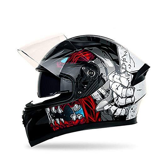 Motorradhelm Doppellinse Vollhelm Anti-Fog-Lokomotive Persönlichkeit Schutzhelm Mountainbike-Helm-Mad Monster (Transparenter Spiegel) _L