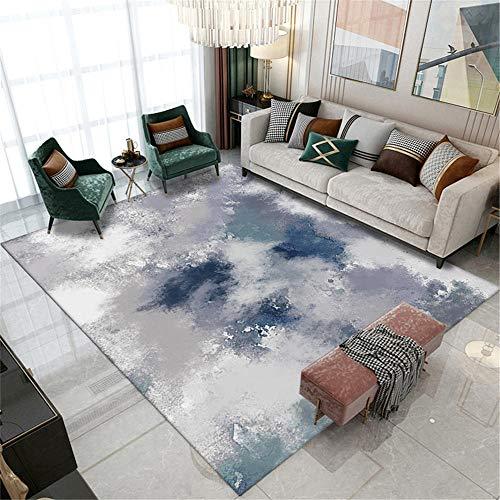 Alfombra alfombras pasilleras Modernas Alfombra del sofá de la Sala de Estar del diseño de la Pintura al óleo del Arte de la Tinta Azul Gris alfombras Pelo Corto alfombras Modernas 120*160cm