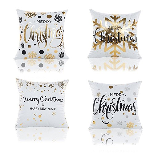 Zhichengbosi 4 PCS Christmas Cushions, Soft Plush Throw Pillow Case Cushion Cover, Snowflake Christmas Pillow Cover 45 cm x 45 cm (Snowflake Christmas)
