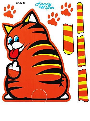 Quattroerre 1247 Funny Wipers ruitenwisser sticker voor auto achterruit bruin grappig kattenmotief