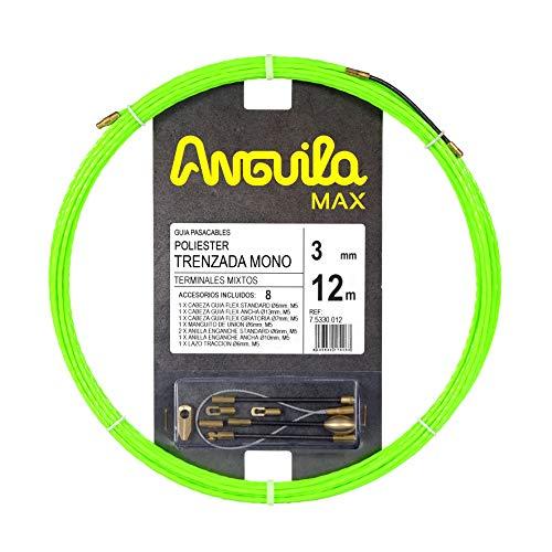 Anguila Max 75330012 Guía pasacables Especial Tubos Estrechos Poliéster Trenzada Monofilamento 3mm 12 Metros y terminales Mixtos, Verde