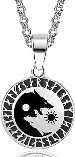 Yin Yang Wolf Pendant Viking Runes Necklace For Women and Man Valknut Scandinavn Celtic Odin Symbol Norse Jewelry