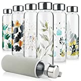Reeho Borosilicate Glass Water Bottle, Sports Glass Drinking Bottle with Neoprene Sleeve and Stainless Steel Lid 16oz / 32oz (32oz, Ink Leaves)