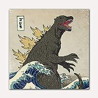 """現代の恐竜キャンバス壁アート和風プリントオンキャンバス壁アートキッズルーム家の装飾壁画23.6"""" x 23.6""""(60x60cm)フレームレス"""