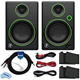 Mackie CR3 3-inch CR Multimedia Studio Monitor, Black w/Green Trim Bundle with 3.5mm Stereo to Dual 1/4-inch Mono Breakout Cable, 10-Foot