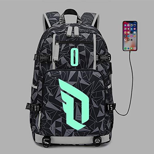 カジュアルデイパック ラップトップバックパック、男性と女性のファッションプリントUSB充電ポート付きショルダーバッグ、超薄型防水バッグバックパック、16インチラップトップに最適-発光 ラップトップバックパック (Color : D, Size : 2)