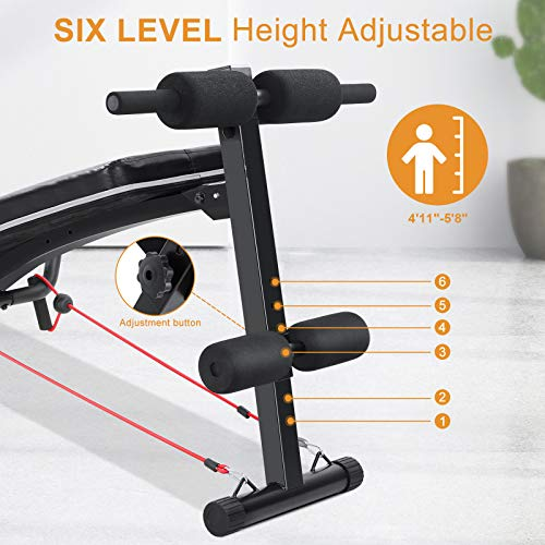 Sit Up Ab Bench Adjustable|MaxKare Foldable Slant Board for Sit-up Abdominal Exercise|Utility Workout Equipment Bench for Home Gym|Decline Recline Situp Benches