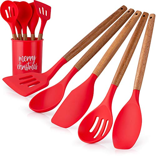 Zulay (5-Piece) Christmas Spatula with Utensil Holder - Silicone Spatula Set with Acacia Hardwood Handles - Non-Stick & Flexible Spatula Silicone Cooking Set & Utensil Crock with Christmas Design