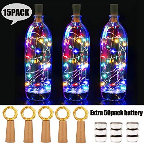 15 Stück LED Flaschenlicht with 50pack Batterry, 20 LEDs 2M Kupferdraht Weinflasche Lichter, mit Kork Schnurlicht Kupferdraht für DIY Deko Weihnachten Party Urlaub, Stimmungslichter (Farbe)