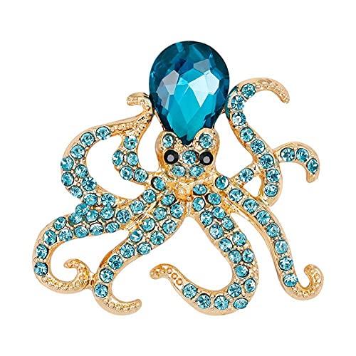 Li Ying Broches y alfileres de Pulpo de Cristal Completo para Mujer, Broche de Diamantes de imitación de Cristal, Accesorios de joyería de Fiesta para Bufanda