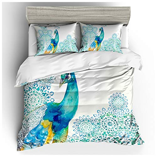HOXMOMA Peacock Pattern Printed Duvet Cover and 2 Pillow Shams, 3D Animal Theme Bedding Sets 3 Piece, Soft Microfiber Summer Quilt Covers for Kids and Adults,White,US King