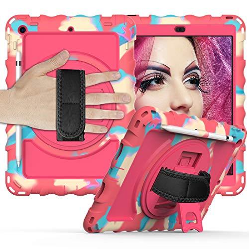 Tablet PC Bolsas Bandolera Caja protectora for el iPad es 10,2 funda protectora del 2019 Durable anti-gota con todo incluido con el soporte giratorio / correa de mano y la caja protectora de la correa