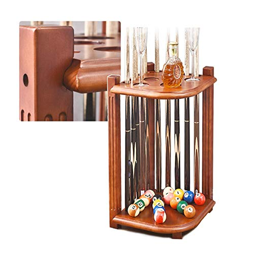 XUNMAIFLB Billard Queue Ständer Cue Halter - Billard Supply Ecke Pool Queue Rack, Snooker Billardtisch, Hält 10 Pool Cue Stick, aus Massivem Hartholz, 70X36X36cm, Brown, L 36cm - W 36cm - H 70cm
